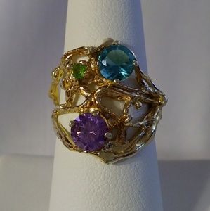 Gold Statement Ring with Rainbow Stones
